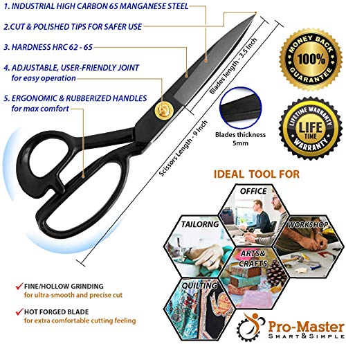 Best Sewing Scissors - Leather Craft Scissors - Comfortable Heavy Duty Handles & Ultra Sharp Shears Blades - Great 4 Quilting, Fabric, Tailors & Dressmakers, Tape Measure, Thread Snips, 3 Seam Rippers