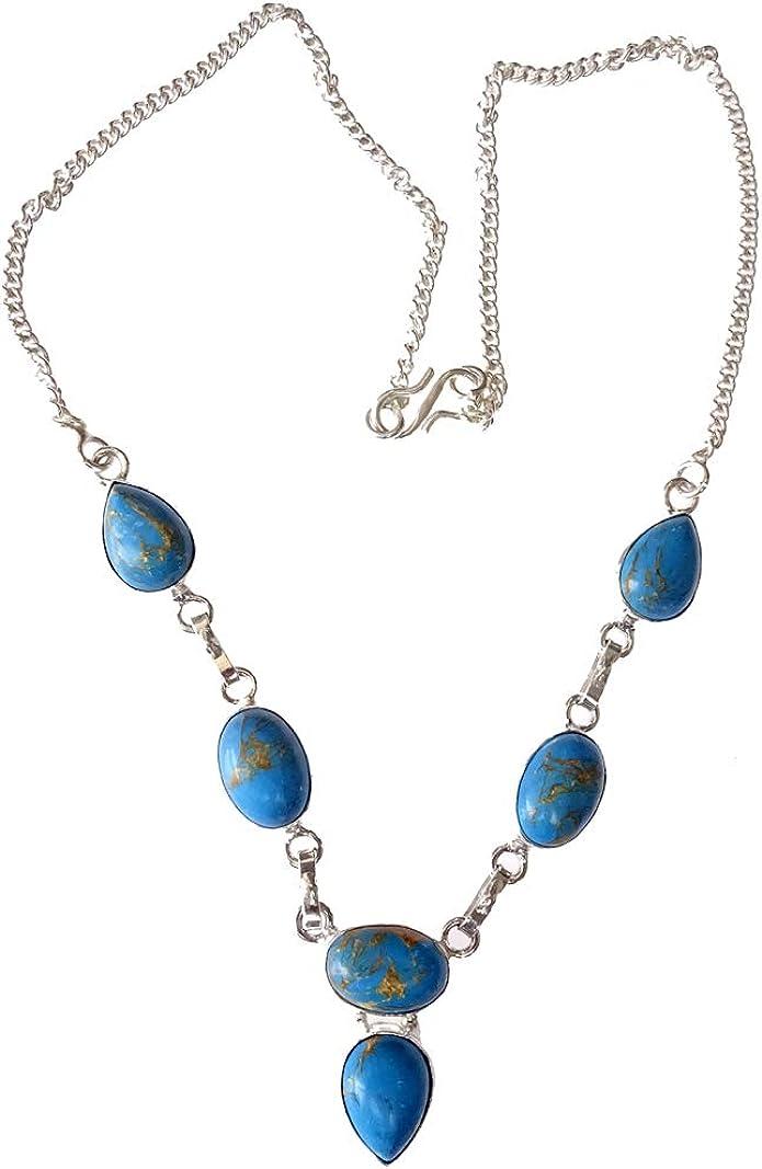 India Jewel Store Collar Hermoso Collar de Plata de Ley 925 Plateado Azul Turquesa Piedras Preciosas Collar de diseñador de Moda para Mujeres y Adolescentes joyería Moderna Artesanal Hecha a Mano