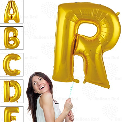 40 Inch Giant Jumbo Helium Foil Mylar Balloons for Party Decorations (Premium Quality), Glossy Gold, Letter R