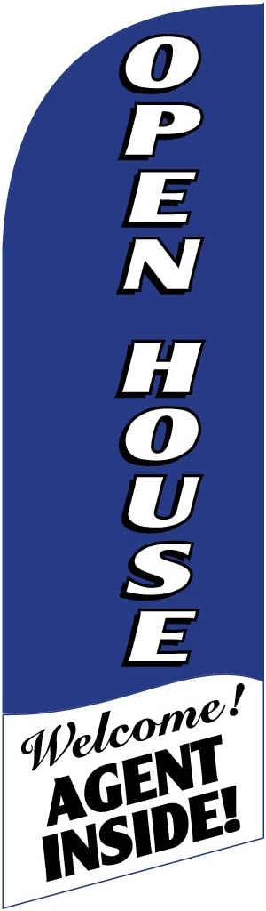 30x78 Swooper Bow Flag /& Pole Kit OPEN HOUSE Welcome Agent Inside Blue White Vertical