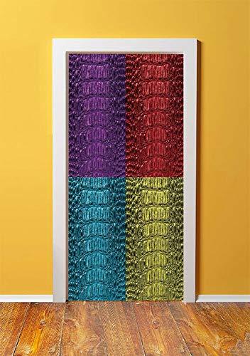 Animal Print Decor 3D Door Sticker Wall Decals Mural Wallpaper,Pop Art Crocodile Skin Leather Pattern Luxurious Fashion Illustration,DIY Art Home Decor Poster Decoration 30.3x78.3245,Purple Red Yellow ()