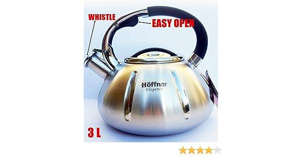 Hervidor de agua 3.0 L, acero inoxidable), color plata/negro inducción/Stove Top hervidores cocina de gas, eléctrico, vitrocerámica, halógeno, hf3966