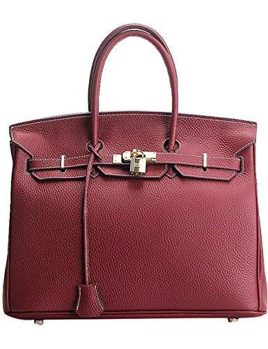 Menschwear Womens Genuine Leather Top Handle Satchel Bag 35cm Wine-Red by Menschwear