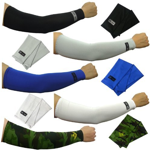 Trading Card Set Sleeves (5pairs Arm Sleeves Set Cooling Athletic Sport Skins Sun Protective UV Cover camo MT by dulcefox)