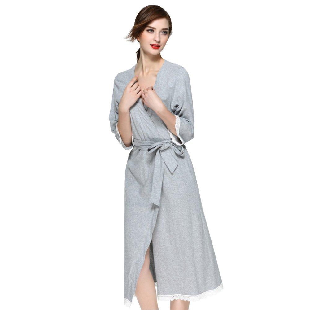 Damen Kimono Bademantel Nachtwäsche Baumwolle Lang,Nachthemd Spitze Sexy Morgenmantel Schlafanzug Mit Taschen