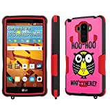 LG [G Stylo] Tough Case [SlickCandy] [Black/Red] Hybrid Combat [Kick Stand] [Shock Proof] Phone Case - [Hoo is There Owl] for LG [G Stylo] [LS770 H631]