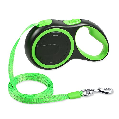 Retractable Dog Leash, 16 ft Dog Walking Leash for Small & Medium Dogs up to 55lbs, Retractable Dog Leash Puppies, Tangle Free, Anti-Slip Handle, One Button Break & Lock, Reflective Retractable Leash by WOT I