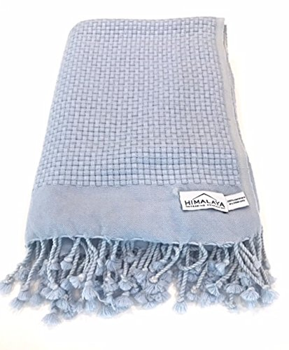 Himalaya Trading Company 100% Cashmere Basketweave Throw in Surf Blue