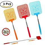 Betan Pocket Extendable Fly Swatter, Travel Partner, Strong Flexible Manual Swat with Durable Telescopic Handle - Pack of 3