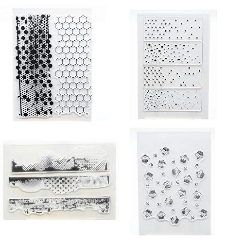 Welcome to Joyful Home 4pcs/Set Dot Cake Background Clear Stamp for Card Making Decoration and Scrapbooking ()