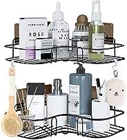 Paquete de 2 cestas de ducha esquineras, estante de baño con 8 potentes ganchos adhesivos, organizador 2 en 1