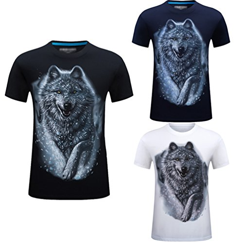 Loose Neck Cayuan Hombre Animal Verano Tops Imprenta O Club Corta Da Camisetas Shirt Manga Azul 3d Graphics Lobo Tee wwZHqOA