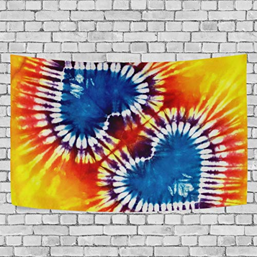 (HELVOON Colorful Heart Tie Dye Tapestry Wall Hanging Carpet Blanket Home Decor Bedding for Living Room Bedroom Dorm 60