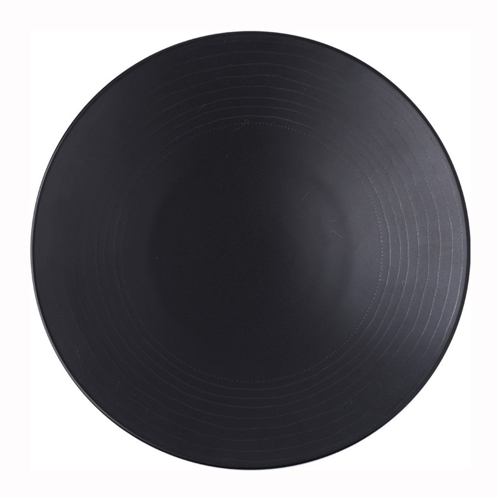 He Xiang Ya Shop Round plate cutlery black ceramic flat dish deep dish fruit salad plate steak plate home 21.3 cm (8 inches)