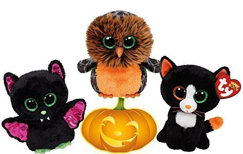 Ty Beanie Boos Halloween Igor Bat, Midnight Owl and FRIGHTS Cat Set of 3 Scary Friends with Bonus Pumpkin Sticker]()