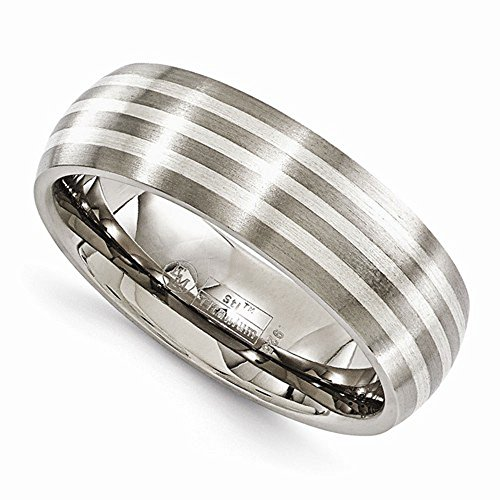 Edward Mirell Titanium with Sterling Silver Inlay 7mm Wedding Band - Size 12.5 by Edward Mirell