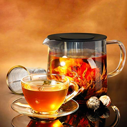 Glass Teapot with Tea Infuser - Stovetop Safe Clear Glass Teapot with Removable Strainer - Perfect for Blooming Tea, Loose Leaf and Other Herbal Teas - Includes 1 Tea Bloom