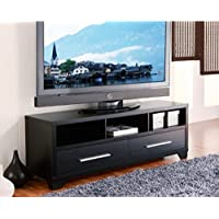 Modern 60-inch Flat Screen TV Stand in Black Finish - Add this Wood Flat Panel Console Table to the Rest of Your Contemporary Living Room Furniture. Features Table Top, 2 Drawers & 3 Shelves to Store Entertainment Media. Makes Great TV Stands for Flat Screens.