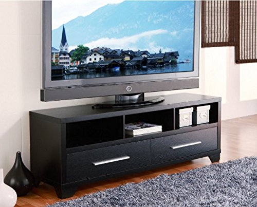 Modern 60-inch Flat Screen TV Stand in Black Finish - Add this Wood Flat Panel Console Table to the Rest of Your Contemporary Living Room Furniture. Features Table Top, 2 ()