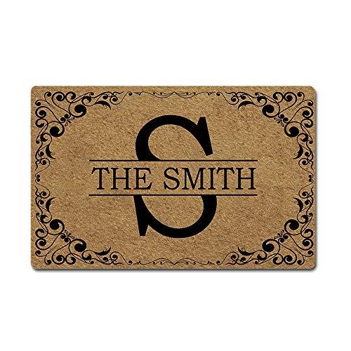 """Artsbaba Custom Family Name Personalized Doormat Letter Monogram Door Mat Rubber Non-Slip Entrance Rug Floor Mat Welcome Mat Home Decor Indoor Doormat 23.6 x 15.7 Inches, 3/16"""" Thickness"""