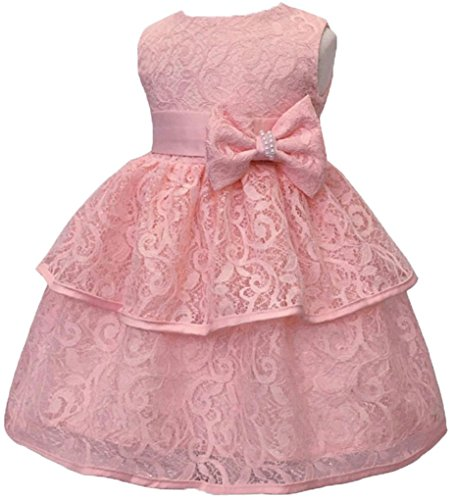 Toddler Baby Girls Lace Applique Christing Pageant Birthday Party Dress Peach -