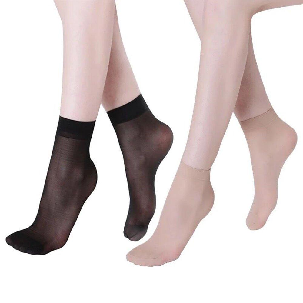 2040280f0 Women s Stretchy Ankle High Short Sheer Toe Nylon Socks(6 pairs black