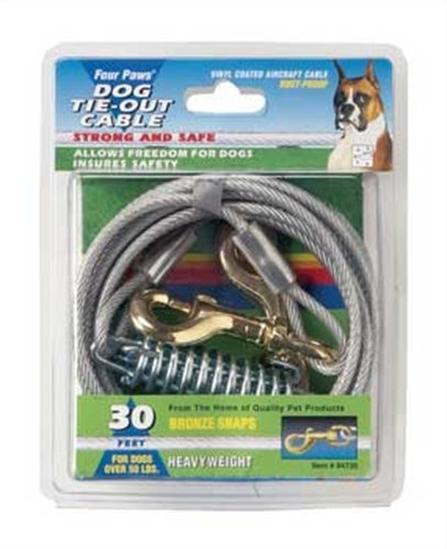 Four Paws Tie-Out Cable for Large Dogs, 30 ft Silver 30' Cable