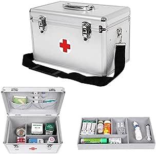 BoxnStrapl Caja de herramientas genérica, caja grande de metal de aluminio, caja de primeros auxilios, herramienta de almacenamiento de medicina, correa de boxeo, grandes aberturas de aluminio: Amazon.es: Electrónica