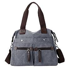 Eshow Women's Canvas bag Top Handle Totes Shoulder Bag female Zippered Tote Cross Body handbag Bag purse
