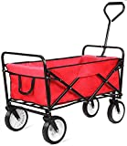 Cheap femor Collapsible Folding Outdoor Utility Wagon, Heavy Duty Garden Cart for Shopping Beach Outdoors (Red)