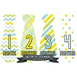 Monthly Baby Milestone Month Stickers Necktie Tie Baby...