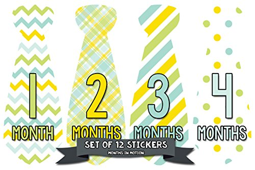 - Monthly Baby Milestone Month Stickers Necktie Tie Baby Boy Months 1-12 (709)