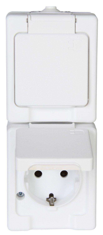 Kopp 130202002 Aufputz-Feuchtraum Schutzkontaktsteckdose 2-fach mit Klappdeckel IP44 Standard