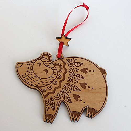 - BELLA BUSTA Animal Christmas Ornament- Decorative Hanging Ornaments- Engraved and Laser Cut Natural Alder Wood (Bear)