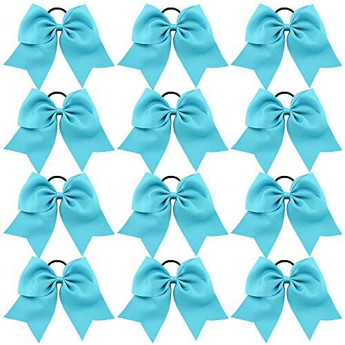 CHLONG Large Cheer Bows Girls Ponytail Holder Grosgrain Hair Bows Softball Dance Team Cheer Squad 12pcs (Blue)]()