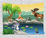 Ambesonne Cartoon Decor Tapestry, Funny Mascots Animals by The Lake Moose Fox Squirrel Raccoon Kids Nursery Theme, Wall Hanging for Bedroom Living Room Dorm, 80 W X 60 L Inches, Multi