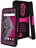 zte blade 3 case - CellJoy Case Compatible With ZTE Max XL, ZTE Blade X Max [Extreme Kickstand Armor] ZTE N9560 Dual Layer Hybrid [Heavy Duty] ((Shock-proof))Rugged Grip Premium Protective Hard Cover (Black / Pink)