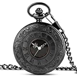 Vintage Black Quartz Pocket Watch with Chain, Roman Numerals Scale Fob Watches for Men Women, with Gift Box