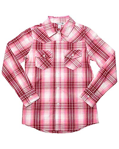 (Shyanne Girls' Lurex Plaid Core Long Sleeve Western Shirt Pink X-Large)