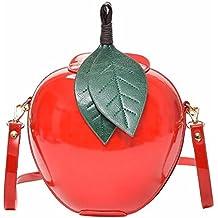 Women PU Shoulder Bag Circular Apple Shaped Hard Leisure Crossbody Bag Female Messenger Bags Leaves Mini Bags for Teenagers