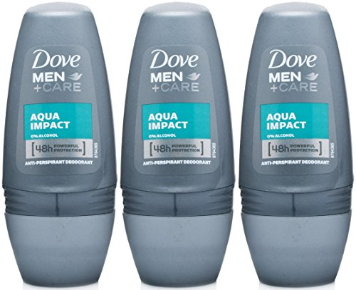 Dove Men+Care Antiperspirant Deodorant Roll-On, Aqua Impact, 1.7 Oz/50 Ml (Pack of 3) Aqua Deodorant