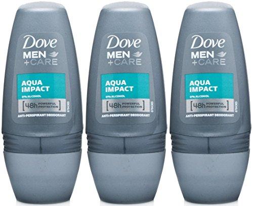 Dove Men+Care Antiperspirant Deodorant Roll-On, Aqua Impact, 1.7 Oz/50 Ml (Pack of 3) Aqua Deodorant