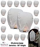 20 Premium SKY LANTERNS by MonaStore, 100% Biodegradable chinese lanterns. Large size. 38'' height lanterns.
