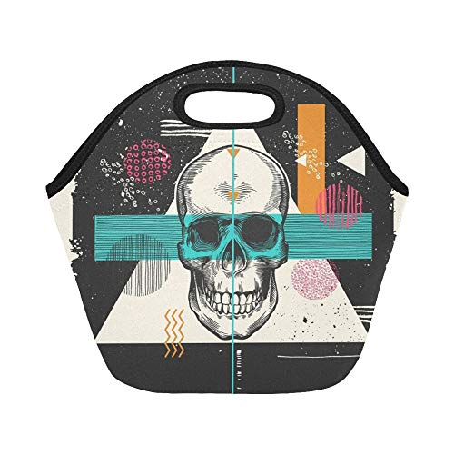 Insulated Neoprene Lunch Bag Human Skull Drawn Etching Style Surrounded Large Size Reusable Thermal Thick Lunch Tote Bags For Lunch Boxes For Outdoors,work, Office, School