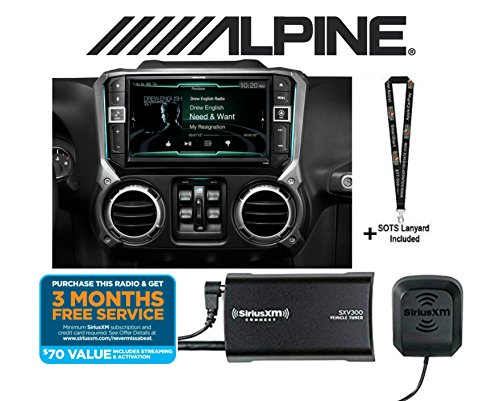 "Alpine X209-WRA in-Dash Restyle System 9"" Custom-fit Navigation Receiver for Select 2011-up Jeep Wrangler and a SiriusXM SXV300KV1 Satellite Radio Tuner and a SOTS Lanyard"