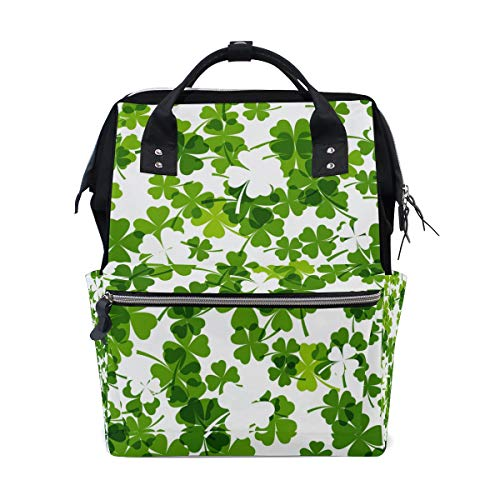 MALPLENA Daypack Pattern with Clover Leaves School Bag Travel Backpack ()