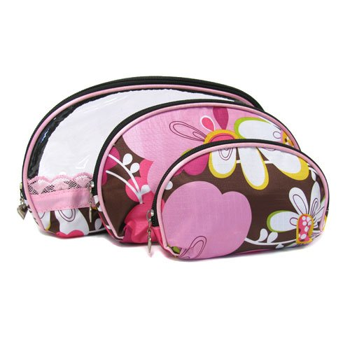 Cosmetic Purse Case ~ Pink Brown Flowers Cosmetic Purse B...