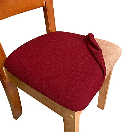 Melaluxe Stretch Dining Room Chair Seat Covers, Removable Washable Jacquard Anti-Dust Upholstered Kitchen Chair Seat Cushion Slipcovers (Burgundy,Pack of 2)