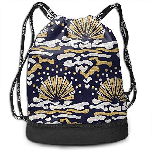 Sea Scallop Cute Drawstring Bags Bundle Backpack Picnic String Rucksack Cinch Bag Lightweight Athletic Shoulder Bag