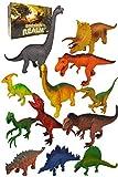 Large Dinosaur Toys , 12pc Plastic Dinosaurs Figures - T Rex , Triceratops , Brachiosaurus, Stegosaurus , Ankylosaurus Toy Figurines Gifts Set , Bonus Dino Guide for Kids , Toddlers, 6 5 4 3 Year Olds
